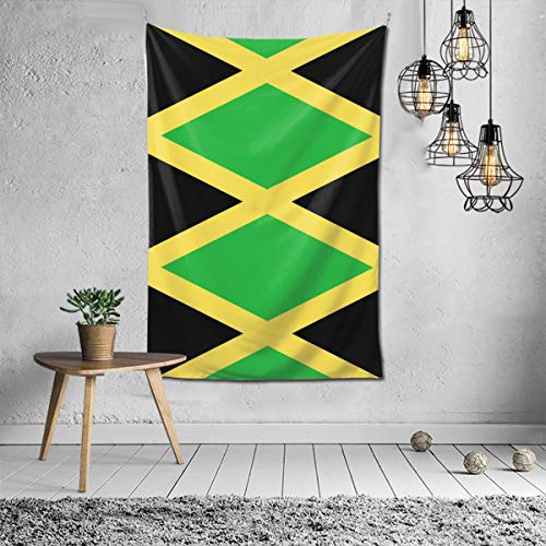 Jamaica Flag Art Design Tapestry Art Decoration Bedroom Living Room and Dormitory Decoration, Seamless Nail Hooks are Easy to Install 60 X 40 Inch