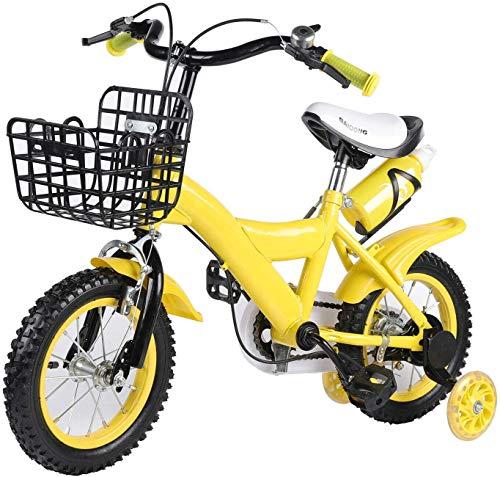 Bicicleta infantil de 12 pulgadas, bicicleta infantil para niños y niñas, con ruedas estabilizadoras de contrapedal, color amarillo