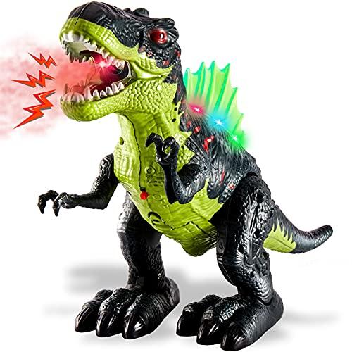 TOEY PLAY Juguete de Dinosaurio Eléctrico Tyrannosaurus Rex con Caminar, Sonido y Luz, Niebla de Agua Educativo Regalos Niños Niñas 3 Años