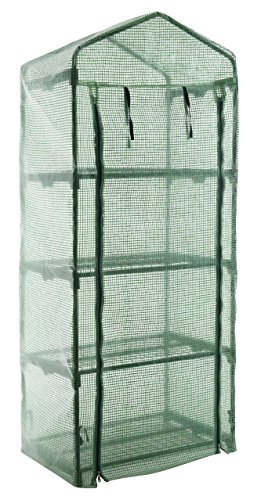 GOJOOASIS 4 Tier Mini Portable Garden Greenhouse Plants Shed Hot House for Indoor and Outdoor