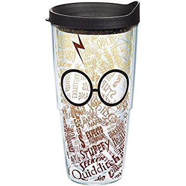 Tervis 1209499 Harry Potter - Glasses and Scar Tumbler with Wrap and Black Lid 24oz, Clear