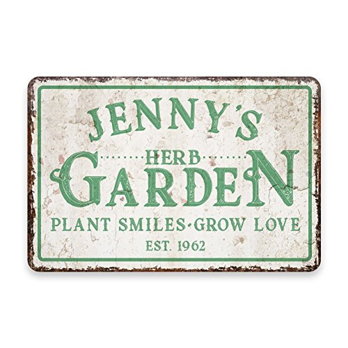 Pattern Pop Personalized Vintage Distressed Look Herb Garden Metal Room Sign (8x12 Inches)