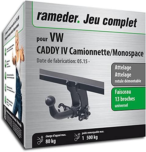 Rameder Pack, attelage rotule démontable + Faisceau 13 Broches Compatible avec VW Caddy IV Camionnette/Monospace (162991-14303-1-FR)