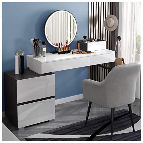 ZRN Frisierkommode Schminktisch ausziehbarer Waschtisch mit LED-Spiegel und Make-up-Hocker, Mehreren Aufbewahrungsbereichen für Kosmetik und Make-up