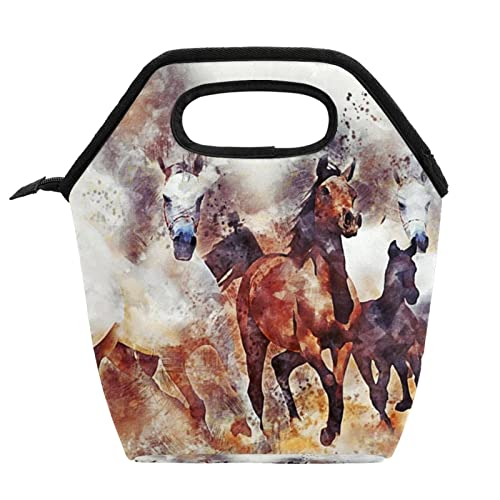 Borsa per il pranzo per ragazze e adulti dipinta a mano cavalli da corsa all'aperto picnic Tote isolato pranzo scatole con cerniera pacchetti pasto contenitori borsa