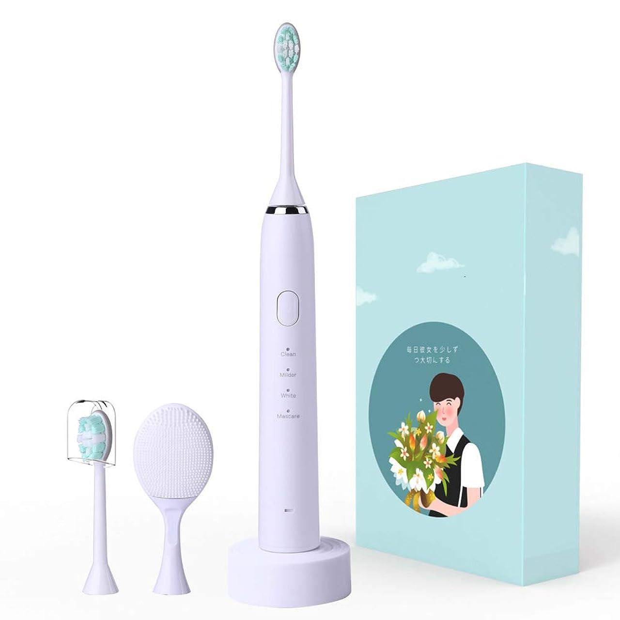 クック嫌がらせパトロール電動歯ブラシ、クレンジング2-In-1ソニック電動歯ブラシ、充電式超音波歯ブラシ、美白およびクリーニング装置