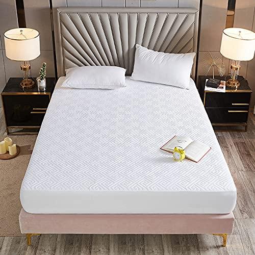 HAIBA Sábana bajera ajustable de forro polar de fácil cuidado, suave y acogedor, sábana de cama de matrimonio, blanco A-blanco, 180 x 200 cm + 25 cm