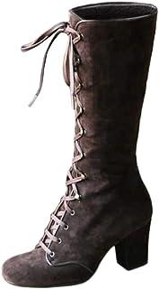 Yowablo Bottes Femmes Mode Casual Vintage Rétro Mi-Mollet À Lacets Épais Talons Chaussures