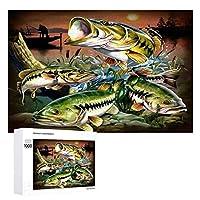 Bass Fish Jumping 木製パズル大人の贈り物子供の誕生日プレゼント(50x75cm)1000ピースのパズル