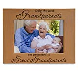 Only the Best Grandparents get promoted to Great Grandparents Engraved Natural Wood Picture Frame, Grandma Grandpa Gifts, Grandparents Day Gifts, Mother's Day, Father's Day (5' x 7' Horizontal)