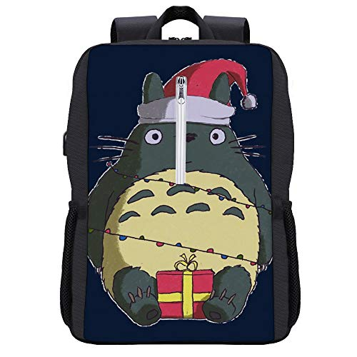 Christmas My Neighbour Totoro Ho Ho Santa Hat And Presents Backpack Daypack Bookbag Laptop School Bag with USB Charging Port