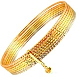 14k Tricolor Gold Lady Women Tubes 7 Day Semanario Bunched Bangle Sparkly Cuts (7)