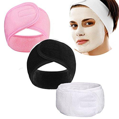 YiKiMira 3 diademas faciales para spa de ballena, para maquillaje, cabeza de rizo, para yoga, deporte, toalla elástica con cinta mágica (3 colores)