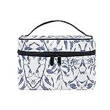 Bolsasdeaseo Arte Floral Azul Organizador Bolsa de Cosméticos Bolsas Neceseres de Maquillaje Estuche de Aseo de Tocador para Mujeres Señoras Niñas