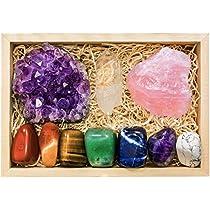 Crystalya Premium Grade Crystals and Healing Stones in Wooden Display Box - 7 Tumbled Chakra Gemstones, Amethyst Crystal, Rose Quartz, Quartz Crystal Point + Guide & Instructions - Gift Kit