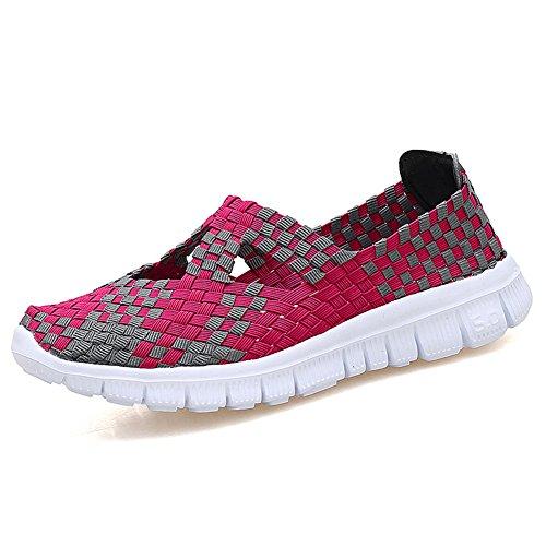 L LOUBIT Damen gewebte Schuhe Schlupfschuhe Handgemachte Sneaker Komfort Leichte Wanderschuhe, Rot (rot), 35.5 EU
