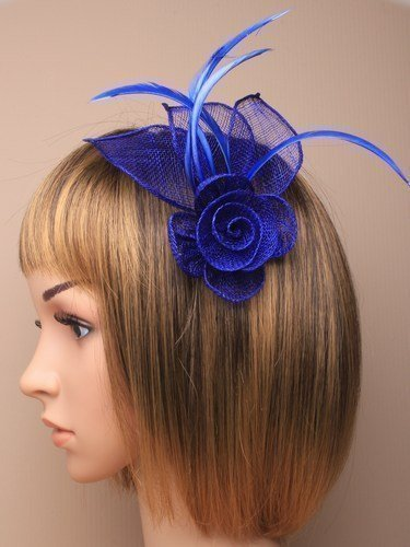 Stunning Royal Blue Fascinator in neat hessian and feather with clip and brooch pin for special occasions by fascinator