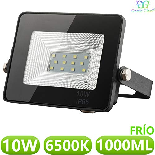 Foco LED exterior Floodlight 10W GNETIC GLASS Proyector Negro Impermeable IP65 1000LM Color Luz Blanco Frío 6500K Angulo 120º 85x115 mm 30000h Equivalente a 100W [Eficiencia energética A++] Pack x1