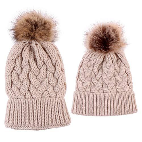 siwetg 2 stuks muts kind baby kind muts warme winter gebreide muts leuke winter moeder baby hoed haakje