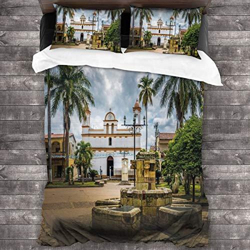 LISUMAL Bedding Bettwäsche,Reisen Maya Stadt mit Palmen drucken,Bequem Bettwäsche 240x260cm mit Kopfkissenbezug 2(50x80cm)