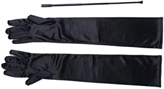 Black Extendable Cigarette Holder and Long Satin Glove Costume Accessory Set