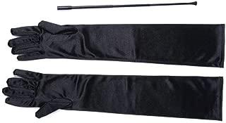 Black Extendable Cigarette Holder and Long Satin Glove Costume Accessory Set