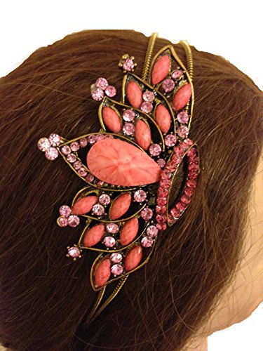 Pamper Yourself Now Pink/pfirsich Krone Design Haarband, Stirnband mit hübschen Steinen (Pink/peachy crown design aliceband, headband with pretty stone)