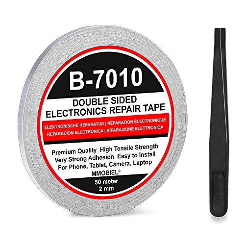MMOBIEL 2 mm doppelseitiges Klebeband stark klebend Tape 50 m Rolle (Weiss) für Smartphone Tablet Reparatur