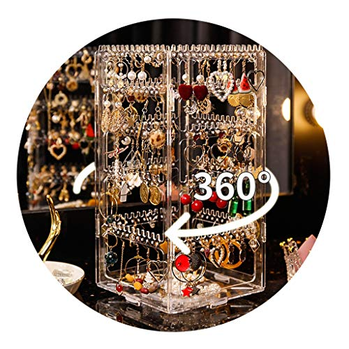 Joyería Soporte de exhibición Giratorio Estante Colgante para Collares en casa Collar, Pulsera, Pendientes, Pendientes, Anillo para Colgar (Color : Clear, Size : 15 * 15 * 30.5cm)