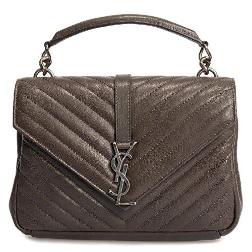 Saint Laurent Classic Medium College Bag In Brown Matelasse Leather