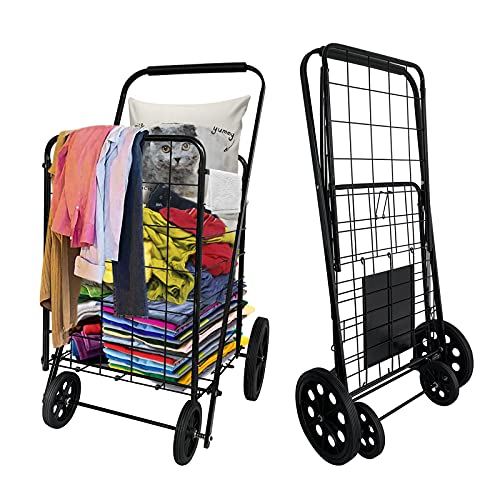Metal Folding Grocery cart (Iron), Large Capacity Produce cart, Upgraded Rubber Big Iron Wheel, Stable wear-Resisting, Convenient and Lightweight, Bearing 50KG(Black)…