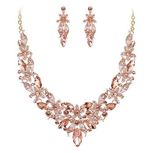 EVER FAITH Damen Schmuckset Kristall Braut Hochzeit Blumen Blume Blatt Halskette Ohrringe Set Champagn-Gold Gold-Ton