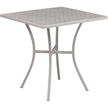 """Flash Furniture Commercial Grade 28"""" Square Light Gray Indoor-Outdoor Steel Patio Table"""