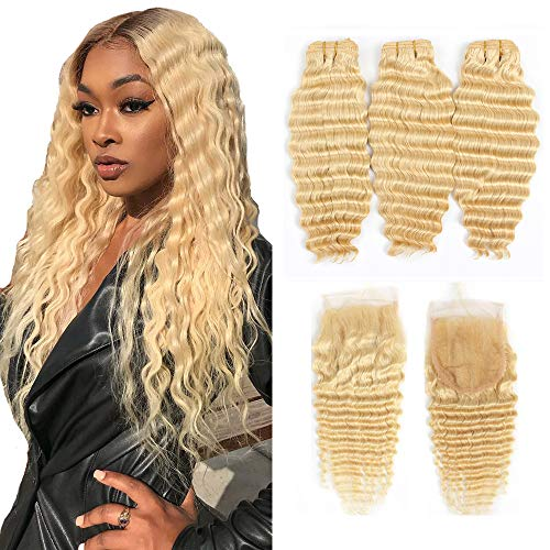 Queen Plus Hair Curly Deep Wave 613 Blonde Virgin Hair 3 Bundles With Lace Closure Brazilian Curly Deep Honey Blonde Human Hair Bundles (20 22 24+18, deep 613 hair)