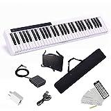 Longeye 電子ピアノ 61鍵盤 2020最新 超小型 10㎜ストローク バッテリ内蔵 長時間利用可能 練習にピッタリ 収納バッグ付き ペダル付き MIDI対応 譜面台 鍵盤シール(白)