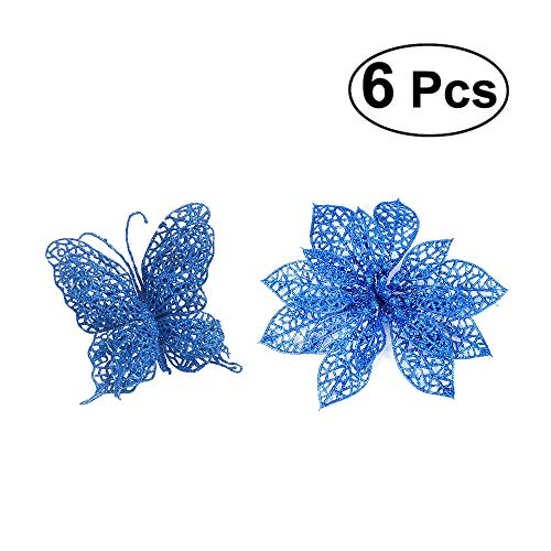 TiTa-Dong Poinsettia Flowers and Butterfly Christmas Ornaments - Pack of 12 Glitter Artificial Hollow Flowers Wedding Party Holiday Xmas Tree Decoration - Blue,6 Flowers and 6 Butterflies