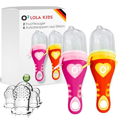 Lola Kids Fruchtsauger für Babys // 2 Fruchtsauger mit 6 Aufsatzkappen aus Silikon // Für weiche Lebensmittel, Obst und Gemüse // BPA-frei // Orange + Pink