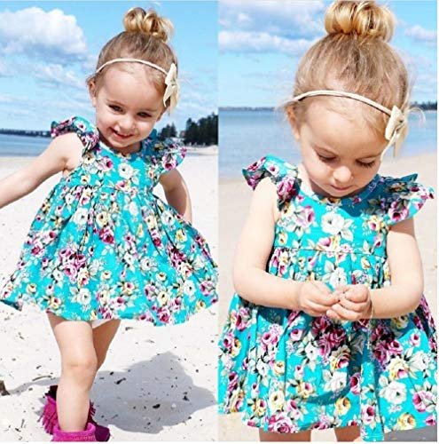 Türkis Body Kleid für Baby 3 bis 6 Monat mädchen Baby Star Kleid Strandkleid Sommerkleid 2019
