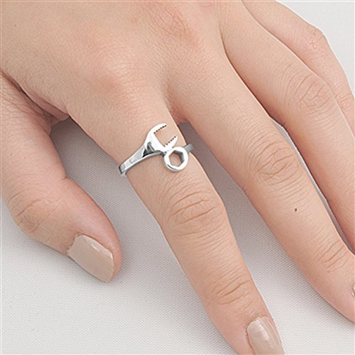 Wrench Ring Artistic Mechanic Tool New .925 Sterling Silver Band Size 6