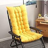 Soft Patio Rocking Chair Cushion,Thicken Soft Chair Sun Lounger Cushion,High-Backed Garden Chair Pad Mat Tatami Sofa Window Floor Seat Cushion Mattress Yellow 155x48cm(61x19inch)