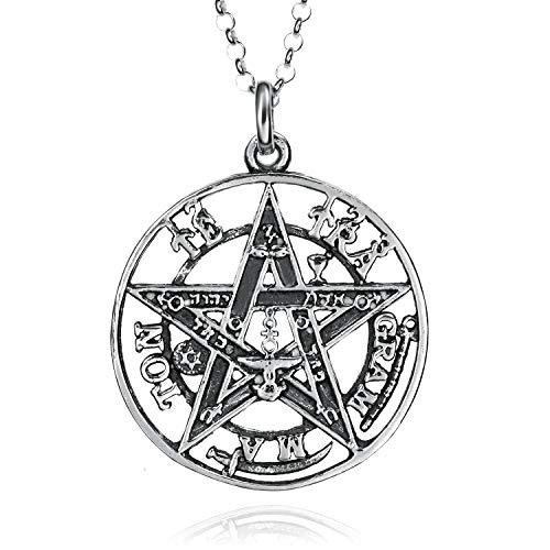 Colgantes Tetragramaton Plata De Ley 925, Amuletos De La Suerte Y De La Protección. Pentagrama Colgante Hombre Y Mujer. Colgante De Plata En Tres Dimensiones 15-25 Y 30 mm De Diametro. (30 mm)