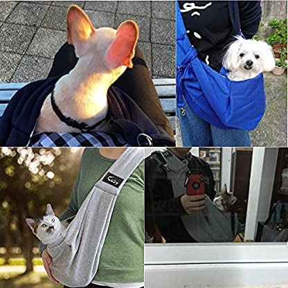 CUBY Reversible Pet Sling Carrier Hands-free Sling Pet Dog Cat Carrier Bag Soft Comfortable Puppy Kitty Rabbit Double-sided Pouch Shoulder Carry Tote Handbag (gray) 3