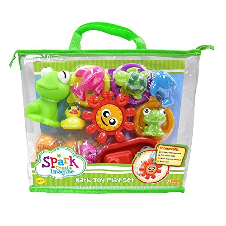 Spark Sci 21 Pcs Bath Toys Carry Bag Gift Set [並行輸入品]