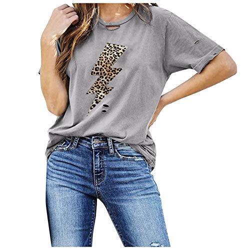 YANFANG Camisetas Manga Corta Mujer Baratas,Camiseta De con Estampado Leopardo Verano para Mujer, Blusa Cuello Redondo,Camisa Elegante Negocios Camisa OtoñO Informal,Gris,Negro,Blanco,S-XXL