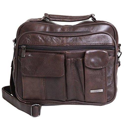 Stadlbauer Lorenz da Uomo/Unisex Borsa da viaggio, Pelle, Multi Pocket, Marrone