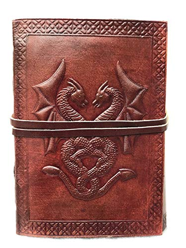 """Handmade Vintage Leather Double Dragon Bound Journal Notebook Diary Sketchbook Travel Office Thought Blank Book Best Gift for Men & Women (Brown, 75"""")"""