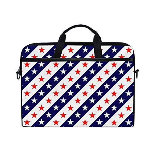 Laptop Sleeve Case,Laptop Bag,USA Flag Blue White Red Stars Stripes Water Briefcase Messenger Notebook Computer Bag with Shoulder Strap Handle,29×40 CM/15.6 Inch