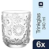 Leonardo Trinkglas Fiorita, Gläser-Set mit Innen-Relief, Saft-Gläser mit Blumen-Muster, 340-ml Füllvolumen, 6-teilig, 037794