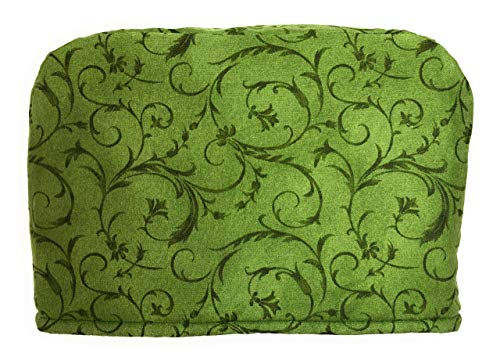 4 Slice Slot Green Scroll Reversible Toaster Appliance Dust Cover Cozy 11.5(l) x 7.5(h) x 11.5(w)