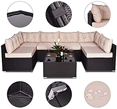 Amolife 7 Pieces Patio PE Rattan Sofa Chair Set Outdoor Sectional Furniture Black Wicker Conversation Set with Tan Cushions C